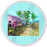 Country Lane Round Beach Towel by Jim Phillips