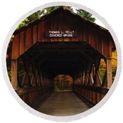 Covered Bridge At Allegany State Park Round Beach Towel