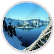 Crater Lake Winterscape Round Beach Towel by Nick Boren