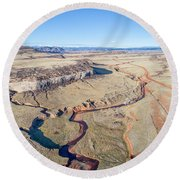 creek at  Colorado foothills - aerial view Round Beach Towel