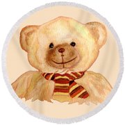 Cuddly Bear Round Beach Towel