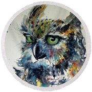 Round Beach Towel featuring the painting Cute Owl by Kovacs Anna Brigitta