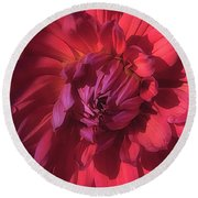 Round Beach Towel featuring the photograph Dahlia 'wyn's King Salmon' by Ann Jacobson
