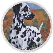 Round Beach Towel featuring the painting Dalmatian by Lee Ann Shepard