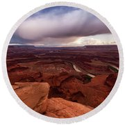 Round Beach Towel featuring the photograph Dead Horse Point by Jay Stockhaus