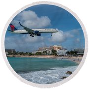 Delta Air Lines Landing At St. Maarten Round Beach Towel