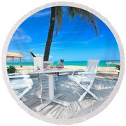 Dinner On The Beach Round Beach Towel