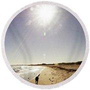Round Beach Towel featuring the photograph Dog Beach by Cassandra Buckley
