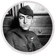 Round Beach Towel featuring the photograph Eddie Rickenbacker by War Is Hell Store