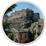 Round Beach Towel featuring the photograph Edinburgh Castle In Scotland by Jeremy Lavender Photography