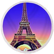 Eiffel Tower Round Beach Towel by Charuhas Images