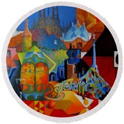 El Barcelona De Gaudi Round Beach Towel by Joe Gilronan