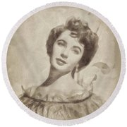Elizabeth Taylor, Vintage Hollywood Legend By John Springfield Round Beach Towel by John Springfield