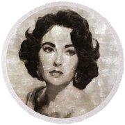Elizabeth Taylor, Vintage Hollywood Legend By Mary Bassett Round Beach Towel