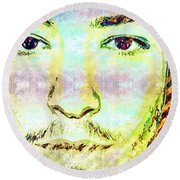 Round Beach Towel featuring the mixed media Ezra Miller by Svelby Art