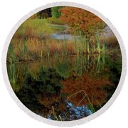 Fall Reflections Round Beach Towel by Skip Willits