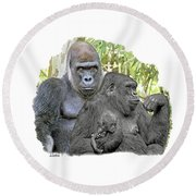 Family Portrait Round Beach Towel