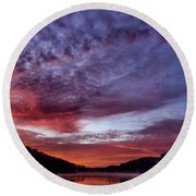 First Light On The Lake Round Beach Towel