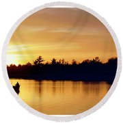 Fishermen On A Lake At Sunset Round Beach Towel