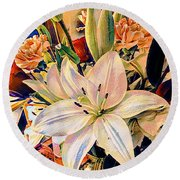 Flowers For You Round Beach Towel by MaryLee Parker