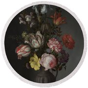 Flowers In A Vase With Shells And Insects Round Beach Towel