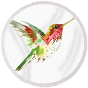 Flying Hummingbird Round Beach Towel