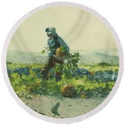 For To Be A Farmer's Boy Round Beach Towel