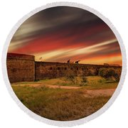 Round Beach Towel featuring the photograph Fort Clinch by Peter Lakomy