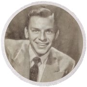 Frank Sinatra Hollywood Singer And Actor Round Beach Towel by John Springfield