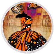 Round Beach Towel featuring the mixed media Freedom To Be by Marvin Blaine