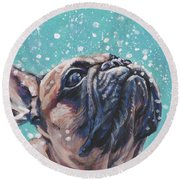 Round Beach Towel featuring the painting French Bulldog by Lee Ann Shepard