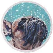 French Bulldog Round Beach Towel by Lee Ann Shepard