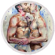 Gay Love Round Beach Towel