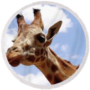 Giraffe Getting Personal 6 Round Beach Towel