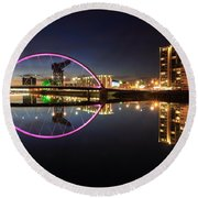 Glasgow Clyde Arc Bridge At Twilight Round Beach Towel