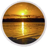 Golden Sunrise Waterscape Round Beach Towel