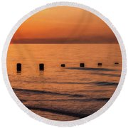 Round Beach Towel featuring the photograph Golden Sunset by Adrian Evans