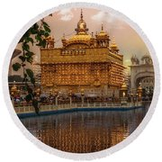 Golden Temple  Round Beach Towel