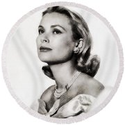 Grace Kelly, Vintage Hollywood Actress Round Beach Towel
