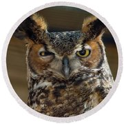 Round Beach Towel featuring the photograph Great Horned Owl by John Black