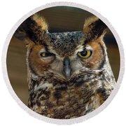 Great Horned Owl Round Beach Towel by John Black