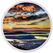 Round Beach Towel featuring the photograph Great Salt Lake Sunset by Bryan Carter