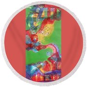 Green Harmony Round Beach Towel