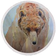 Grizzly Round Beach Towel by Laurianna Taylor