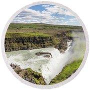 Gullfoss Waterfall In Iceland Round Beach Towel
