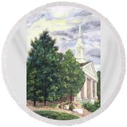 Round Beach Towel featuring the painting Hale Street Chapel by Jane Autry