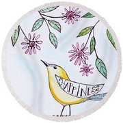Happiness Round Beach Towel by Elizabeth Robinette Tyndall