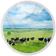 Happy Cows Round Beach Towel