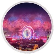 Happy New Year 2018 Round Beach Towel