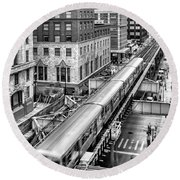 Historic Chicago El Train Black And White Round Beach Towel
